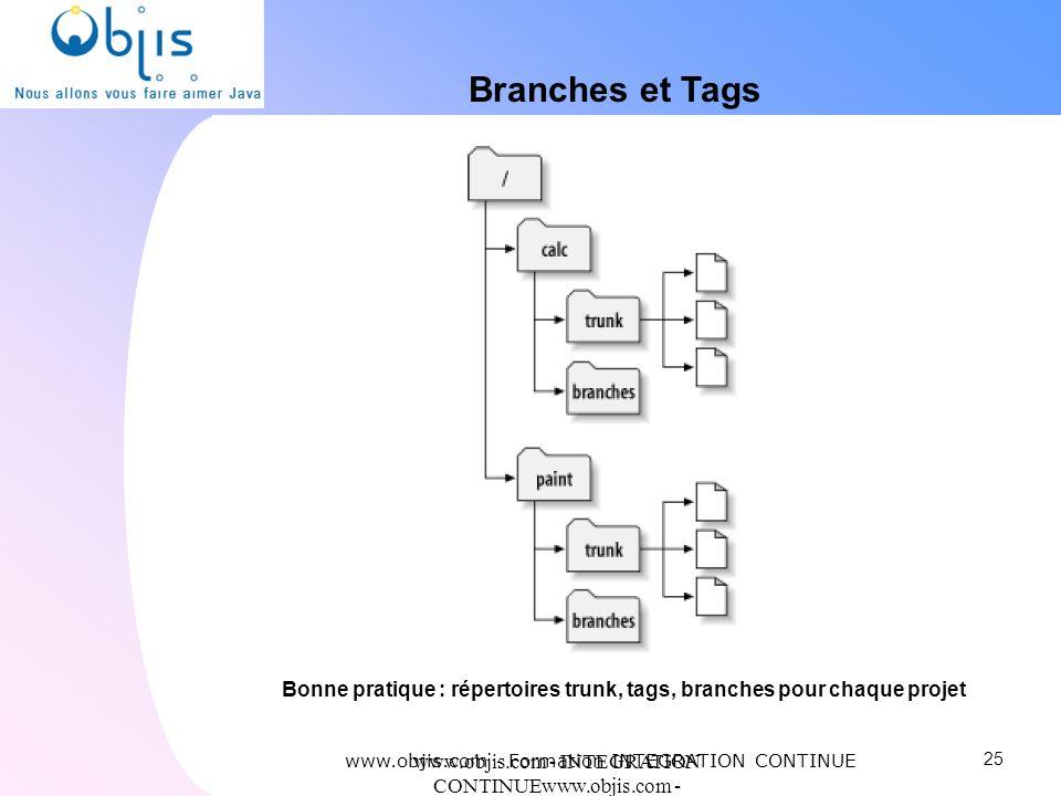 Branches et Tags Bonne pratique : répertoires trunk, tags, branches pour chaque projet. www.objis.com - Formation INTEGRATION CONTINUE.