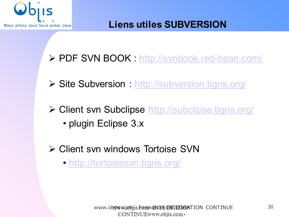 Liens utiles SUBVERSION