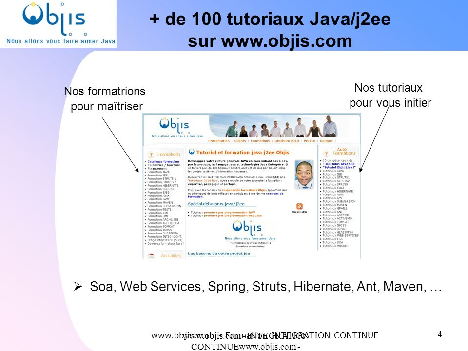 + de 100 tutoriaux Java/j2ee