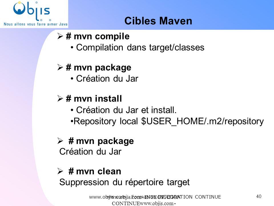 Cibles Maven # mvn compile Compilation dans target/classes
