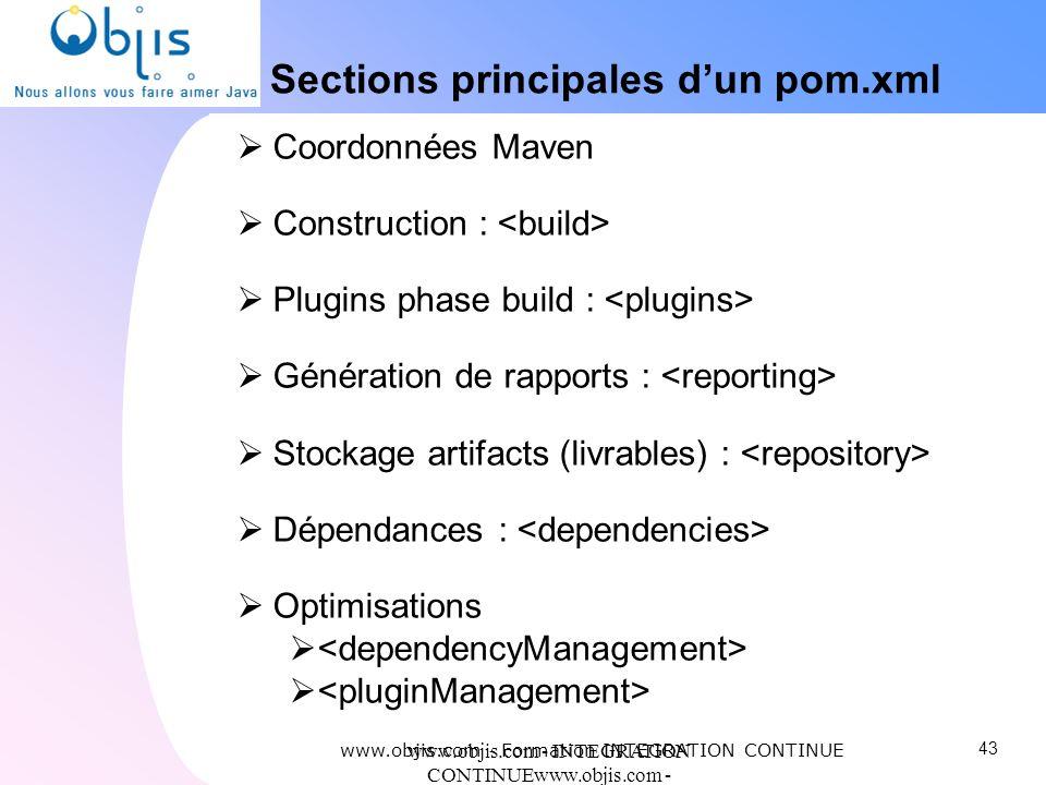 Sections principales d'un pom.xml