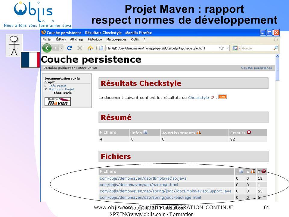Projet Maven : rapport respect normes de développement