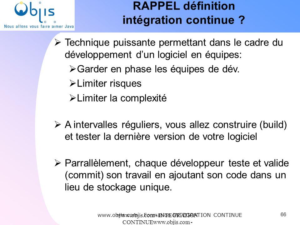 RAPPEL définition intégration continue