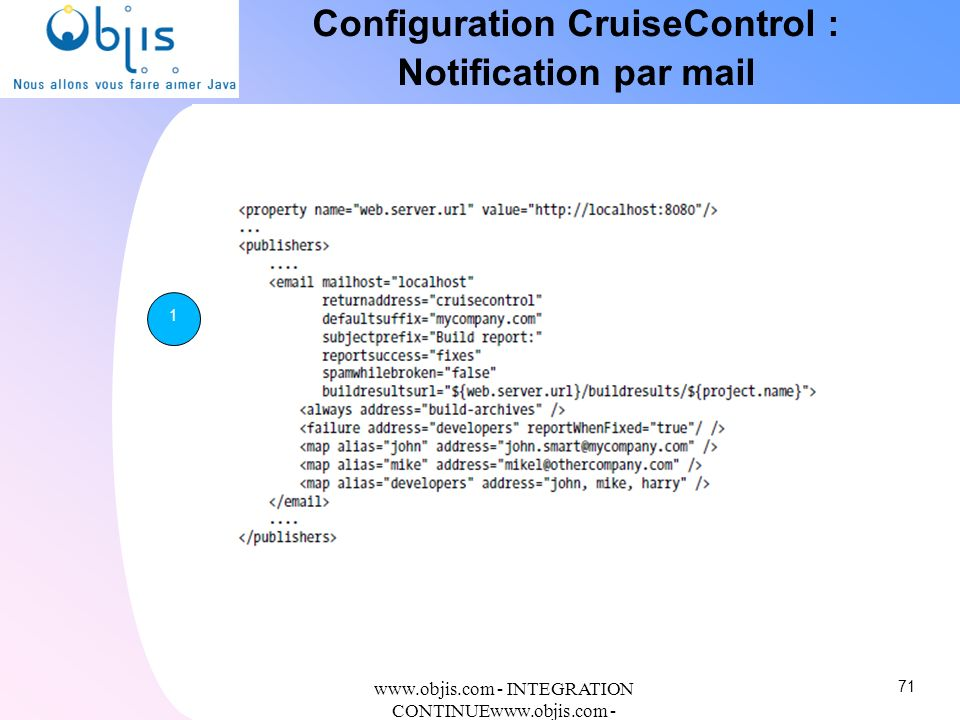 Configuration CruiseControl : Notification par mail