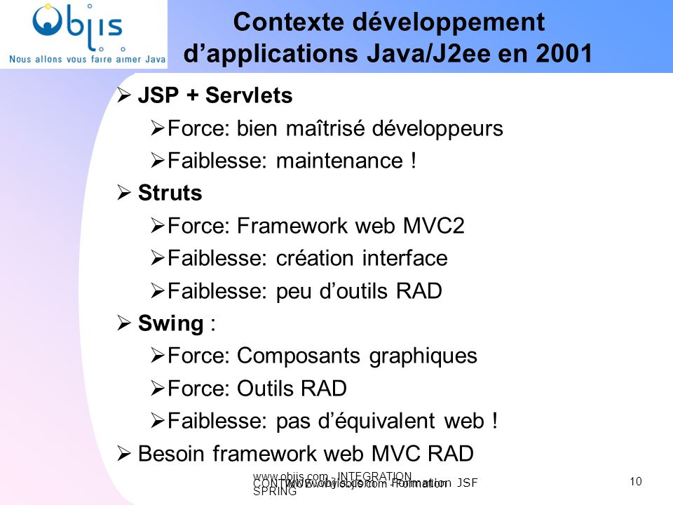Contexte développement d'applications Java/J2ee en 2001