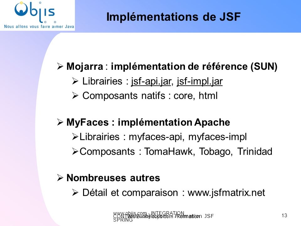 Implémentations de JSF