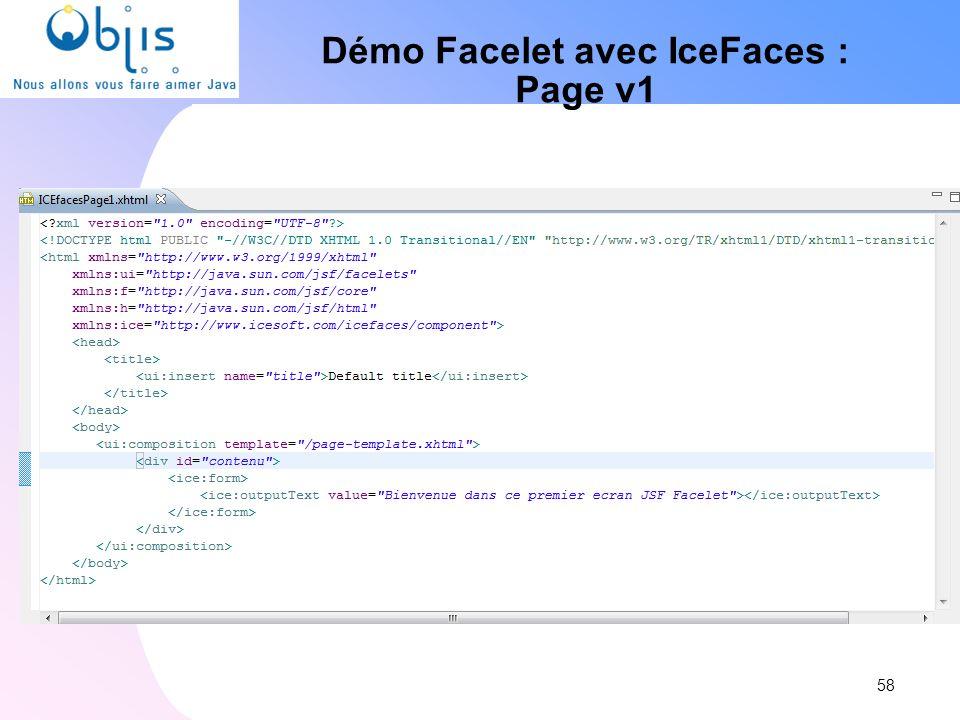 Démo Facelet avec IceFaces :