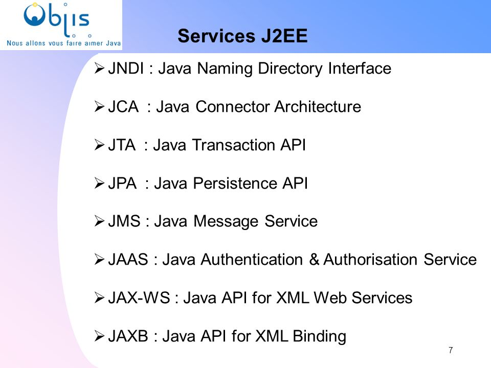Services J2EE JNDI : Java Naming Directory Interface