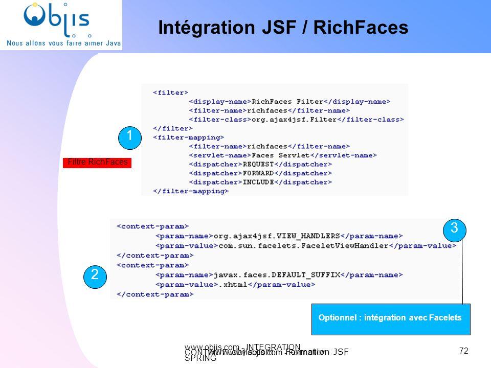 Intégration JSF / RichFaces Optionnel : intégration avec Facelets