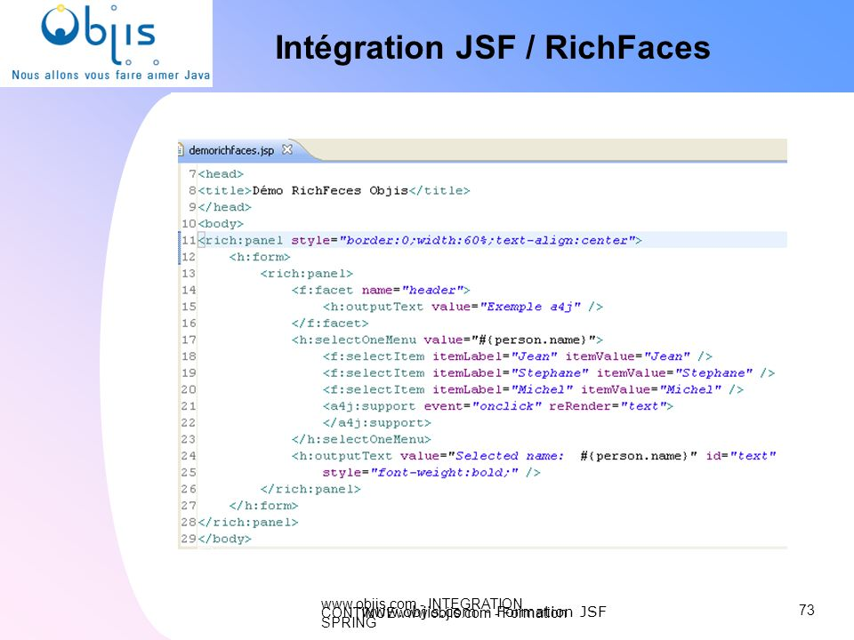 Intégration JSF / RichFaces