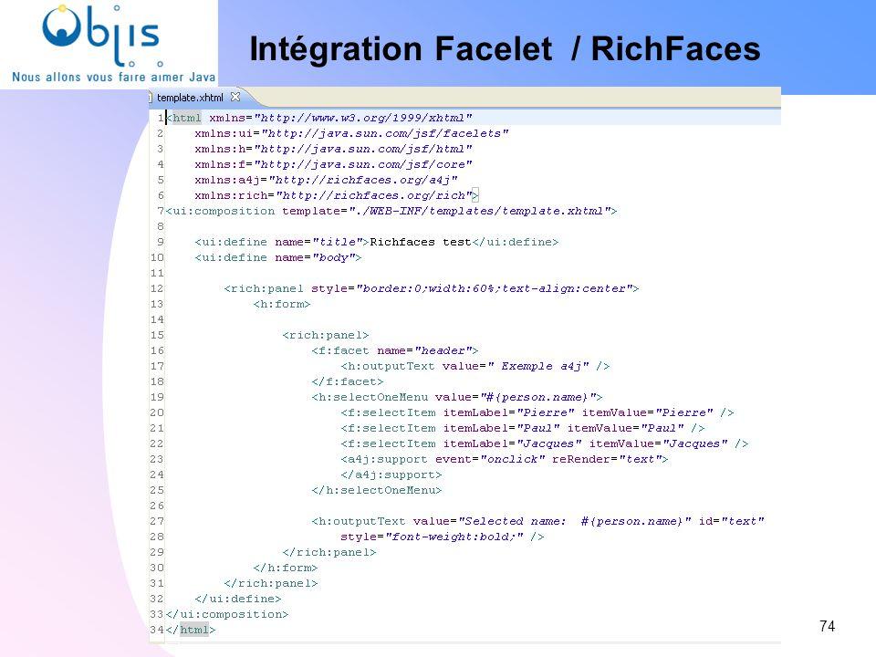 Intégration Facelet / RichFaces