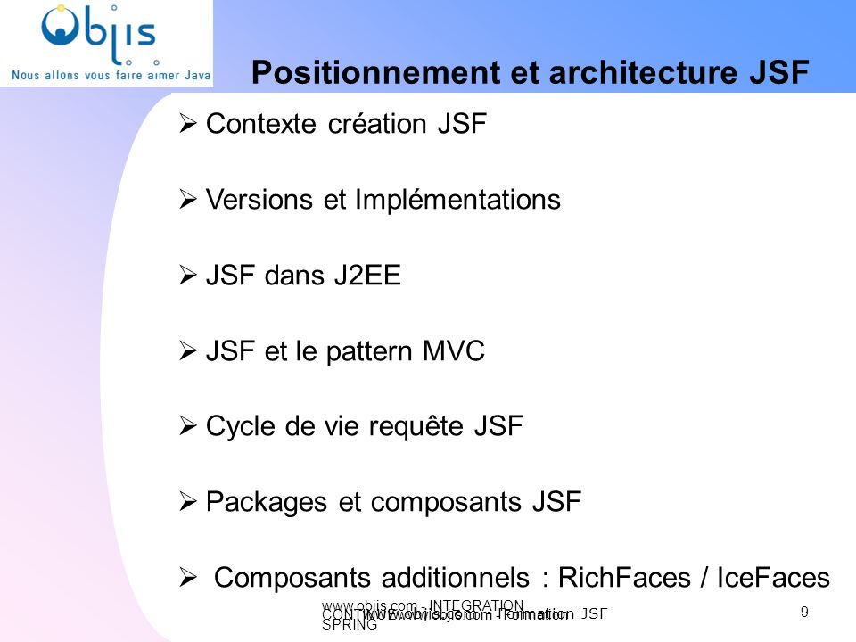 Positionnement et architecture JSF