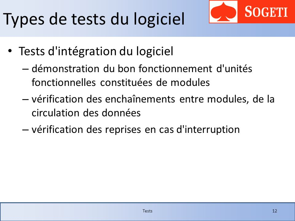 Types de tests du logiciel