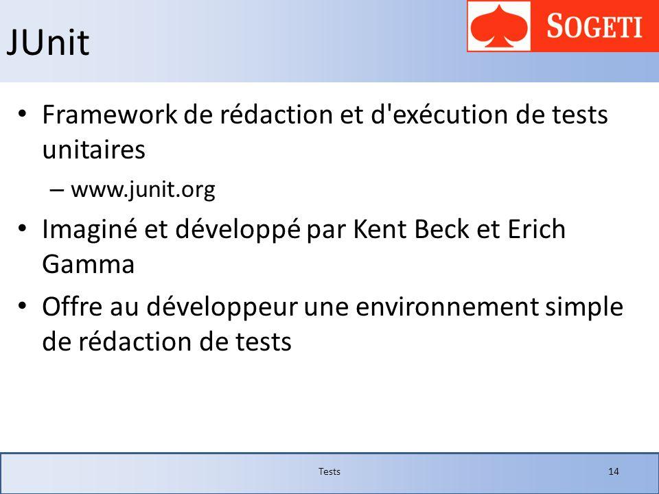 JUnit Framework de rédaction et d exécution de tests unitaires