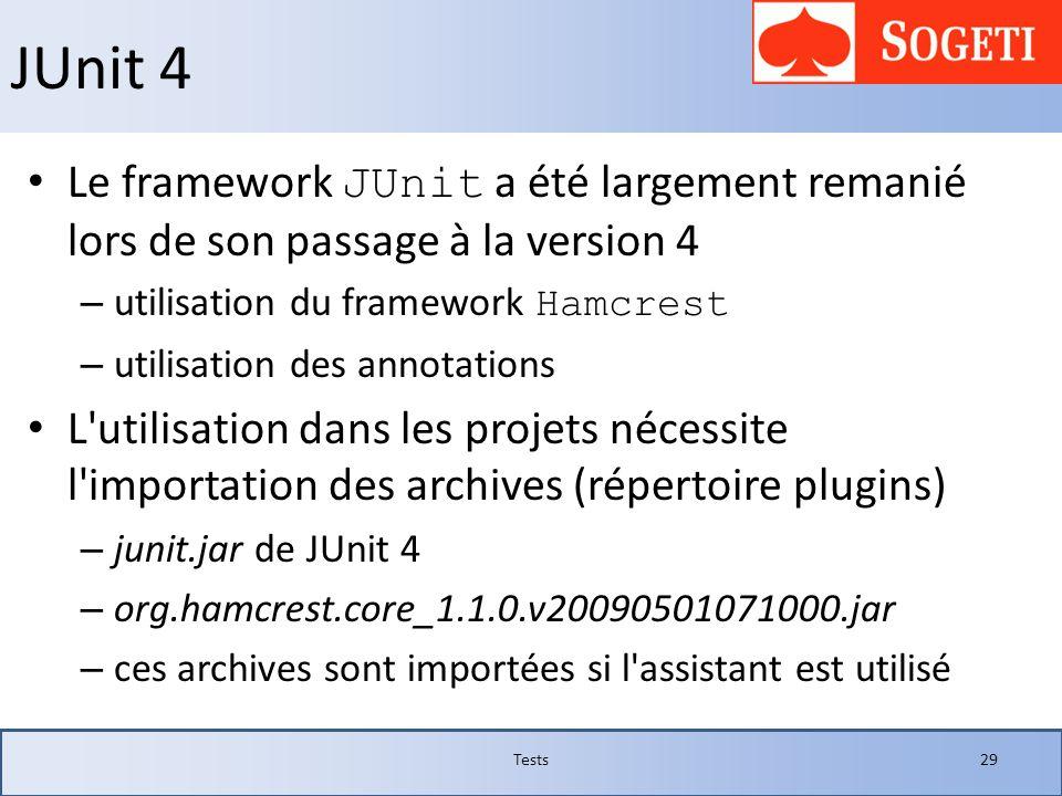 JUnit 4Le framework JUnit a été largement remanié lors de son passage à la version 4. utilisation du framework Hamcrest.