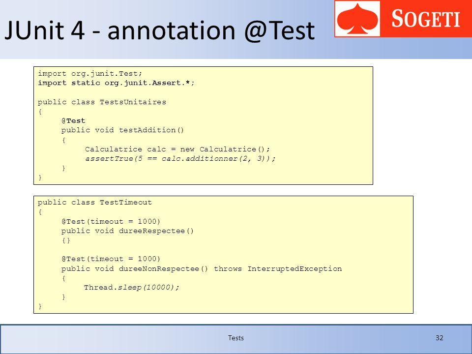 JUnit 4 - annotation @Test