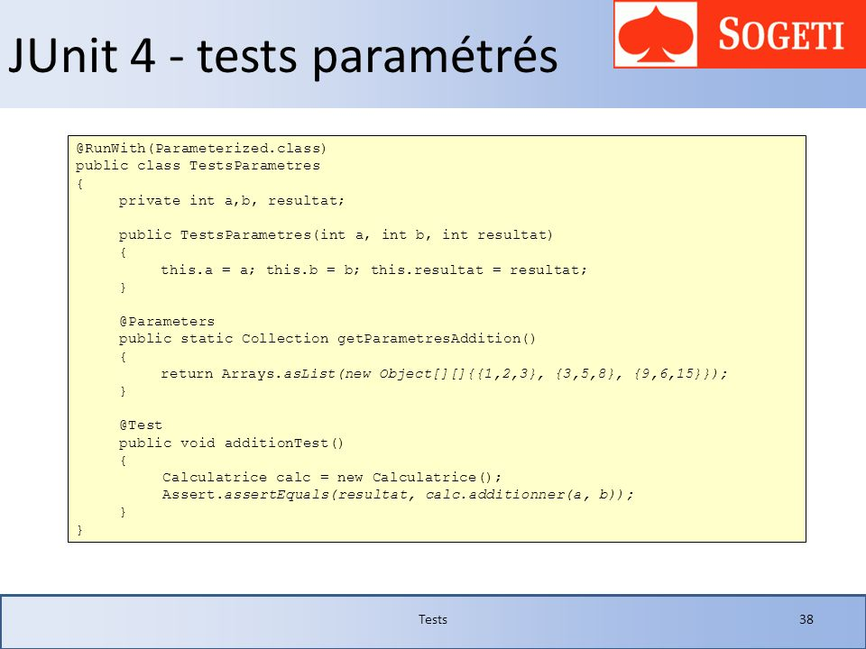 JUnit 4 - tests paramétrés