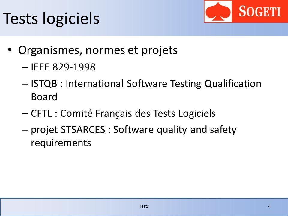 Tests logiciels Organismes, normes et projets IEEE 829-1998