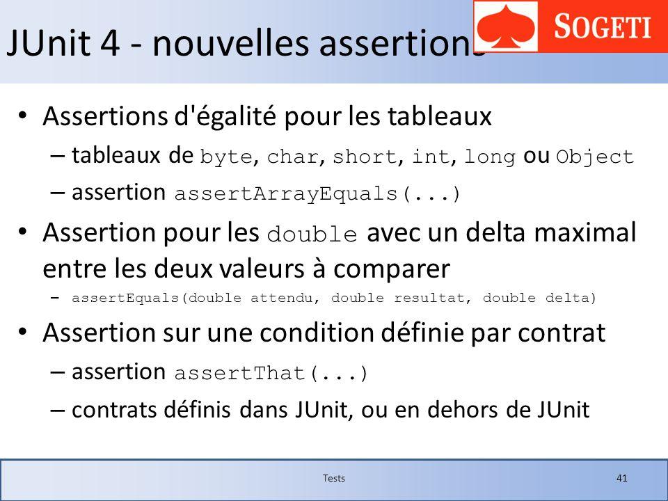 JUnit 4 - nouvelles assertions