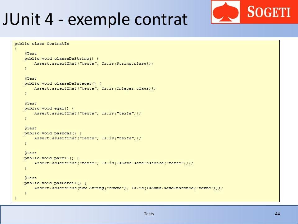 JUnit 4 - exemple contrat