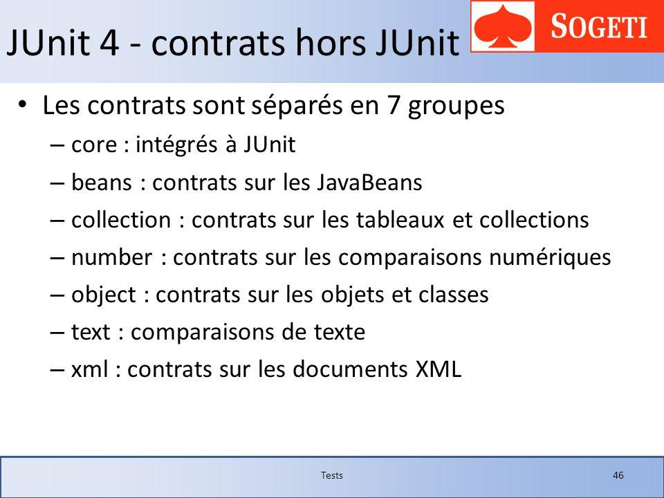 JUnit 4 - contrats hors JUnit