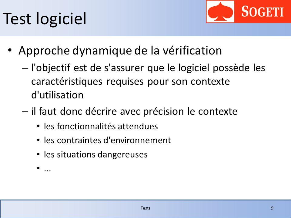 Test logiciel Approche dynamique de la vérification