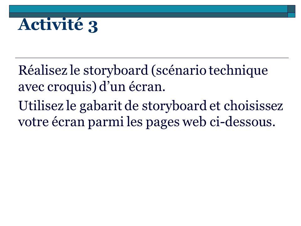 Activité 3 Réalisez le storyboard (scénario technique avec croquis) d'un écran.