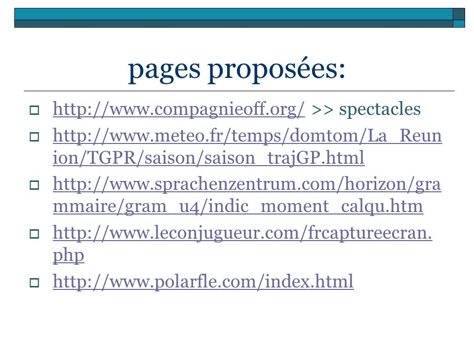 pages proposées: http://www.compagnieoff.org/ >> spectacles