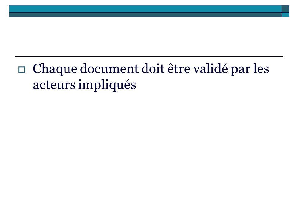 Chaque document doit être validé par les acteurs impliqués