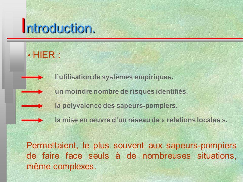 Introduction. HIER : l'utilisation de systèmes empiriques. un moindre nombre de risques identifiés.
