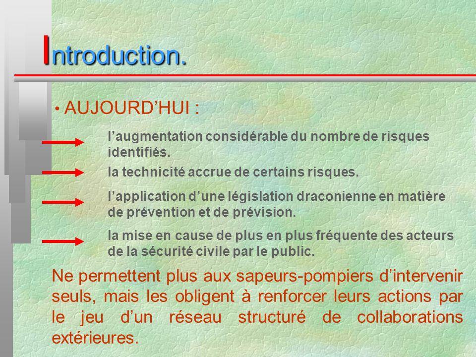 Introduction. AUJOURD'HUI : l'augmentation considérable du nombre de risques identifiés. la technicité accrue de certains risques.