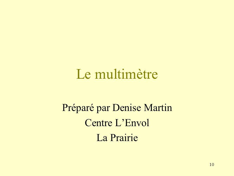 Préparé par Denise Martin Centre L'Envol La Prairie