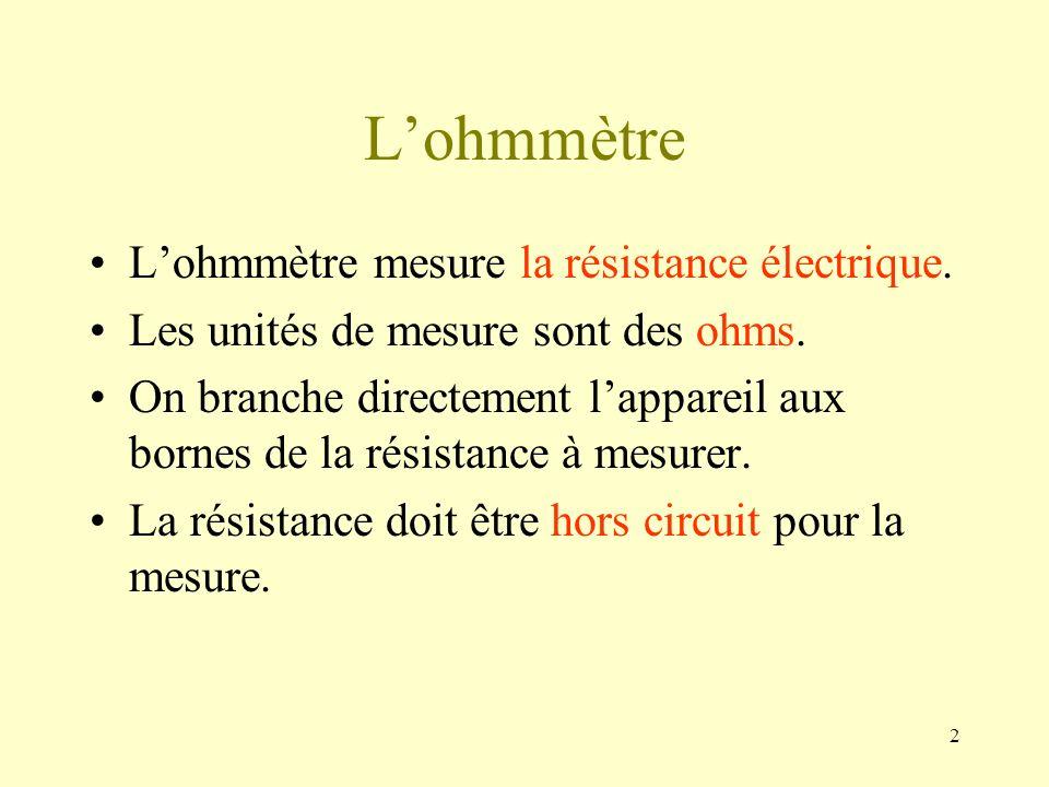 L'ohmmètre L'ohmmètre mesure la résistance électrique.
