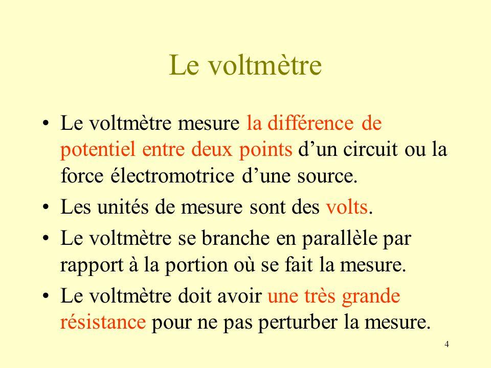 Le voltmètreLe voltmètre mesure la différence de potentiel entre deux points d'un circuit ou la force électromotrice d'une source.