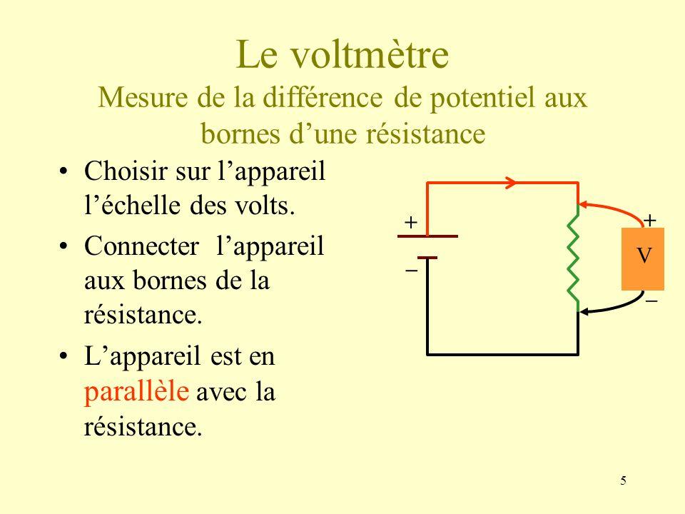 Le voltmètre Mesure de la différence de potentiel aux bornes d'une résistance