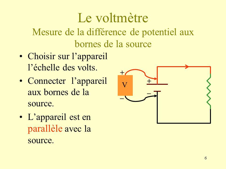 Le voltmètre Mesure de la différence de potentiel aux bornes de la source