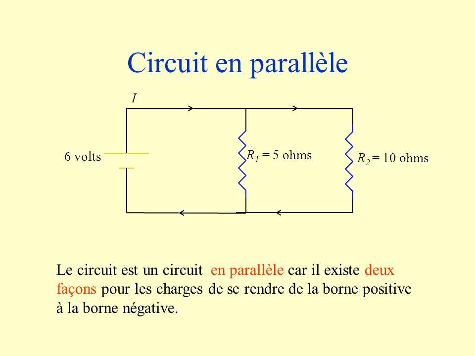 Circuit en parallèleR2 = 10 ohms. R1 = 5 ohms. 6 volts. I.