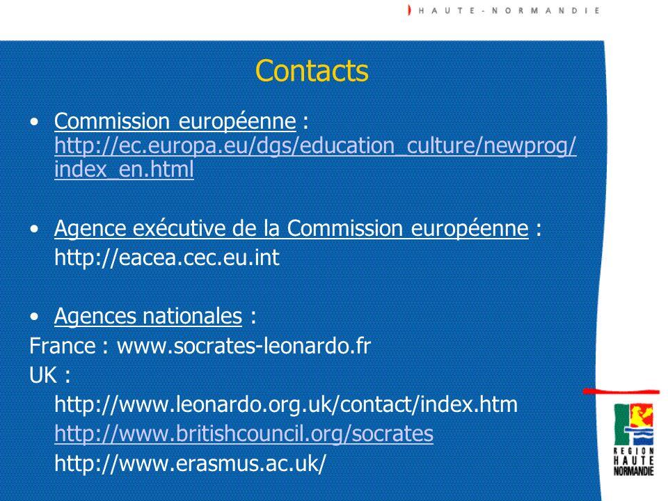 ContactsCommission européenne : http://ec.europa.eu/dgs/education_culture/newprog/index_en.html. Agence exécutive de la Commission européenne :