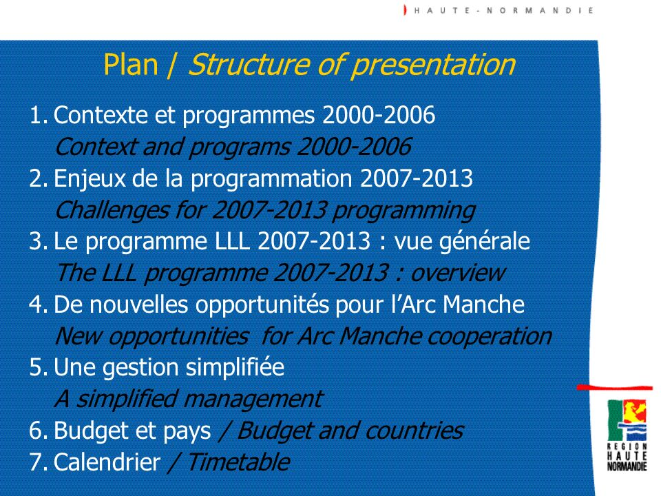 Plan / Structure of presentation
