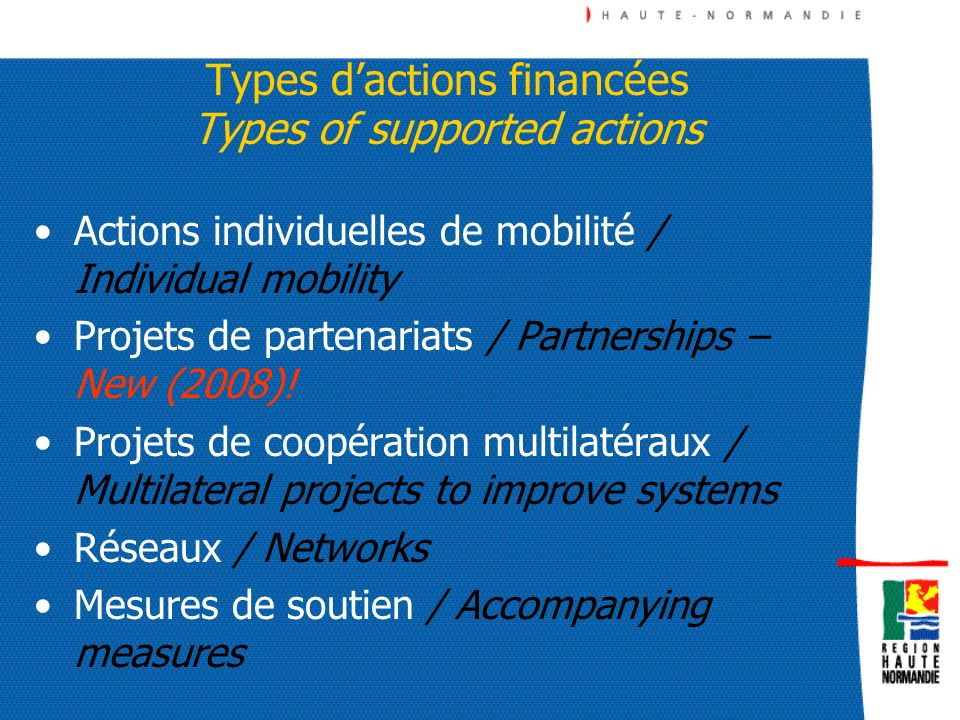 Types d'actions financées Types of supported actions