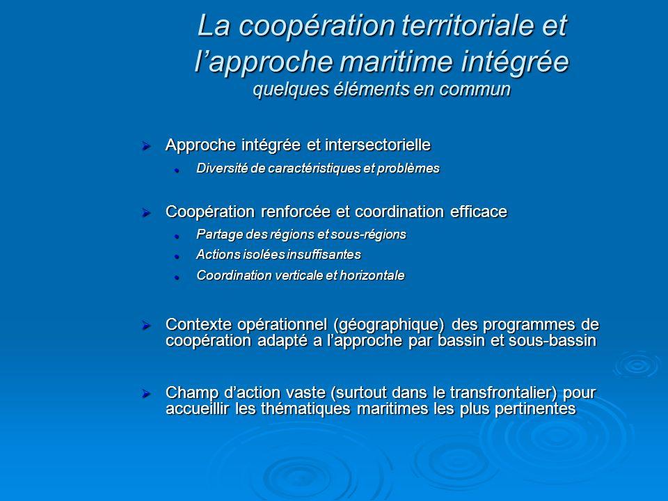 La coopération territoriale et l'approche maritime intégrée quelques éléments en commun