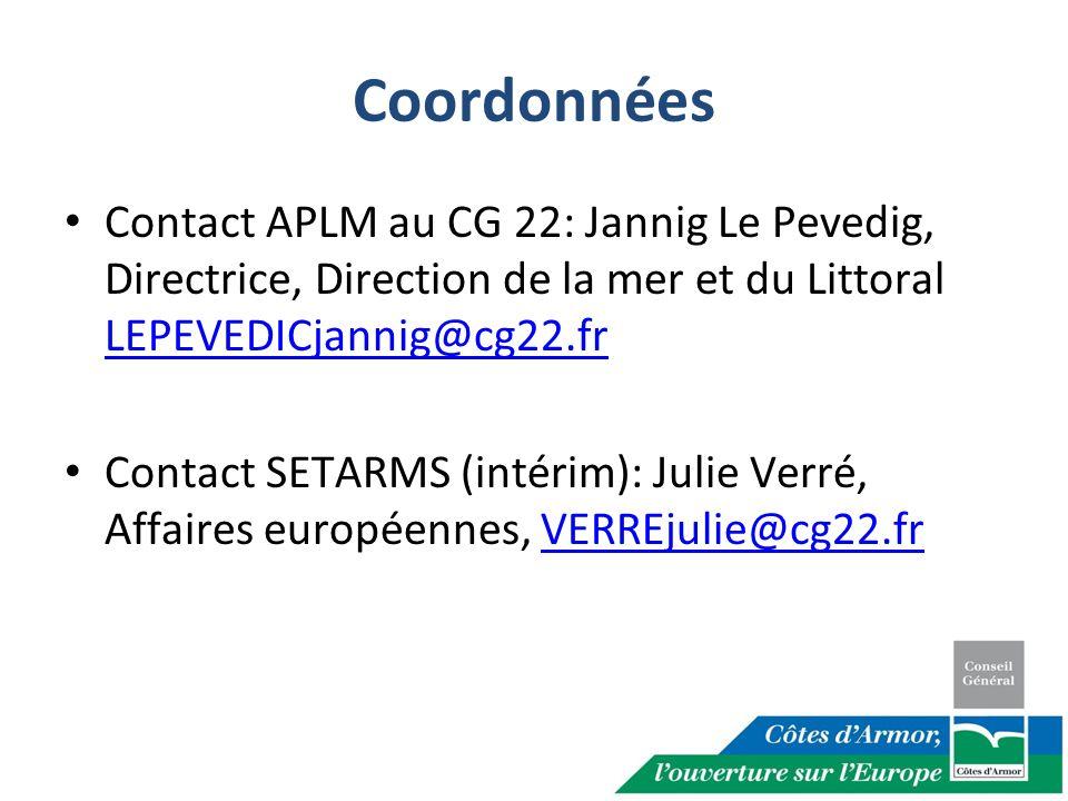 Coordonnées Contact APLM au CG 22: Jannig Le Pevedig, Directrice, Direction de la mer et du Littoral LEPEVEDICjannig@cg22.fr.