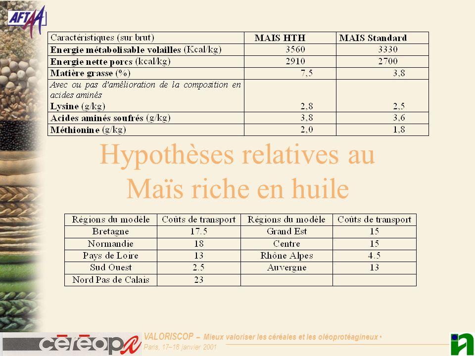 Hypothèses relatives au Maïs riche en huile