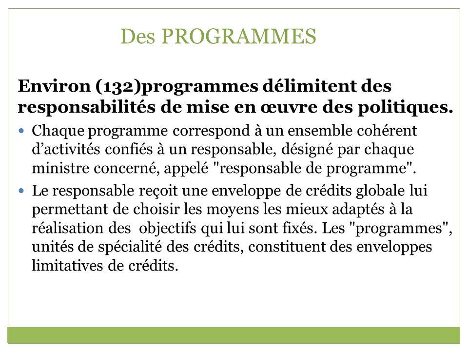 Des PROGRAMMES Environ (132)programmes délimitent des responsabilités de mise en œuvre des politiques.