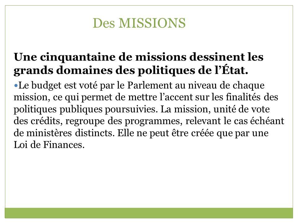 Des MISSIONS Une cinquantaine de missions dessinent les grands domaines des politiques de l'État.