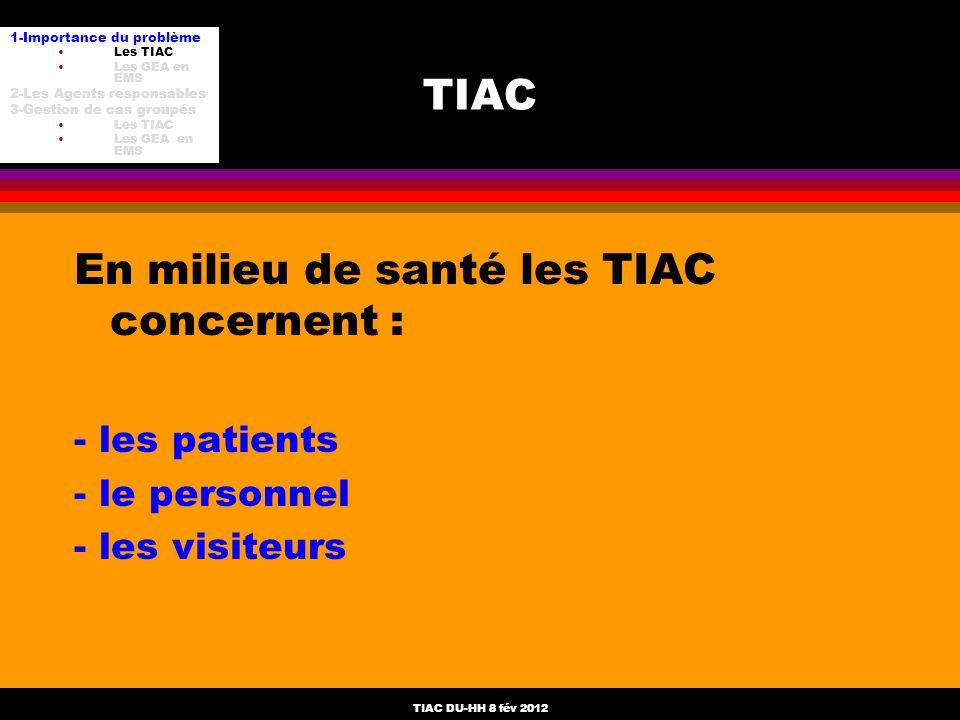En milieu de santé les TIAC concernent :
