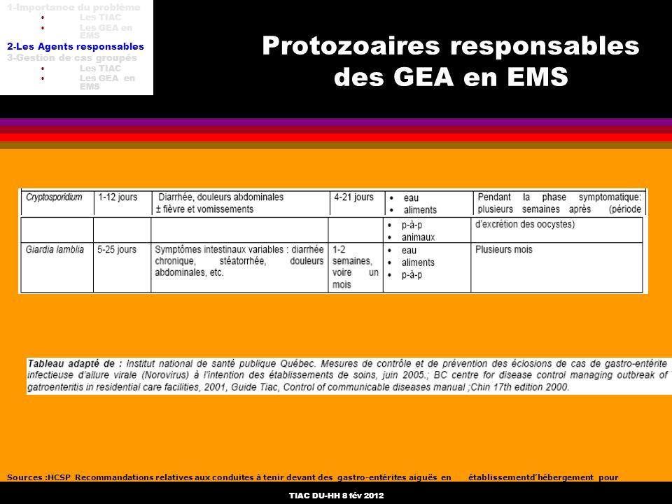 Protozoaires responsables des GEA en EMS
