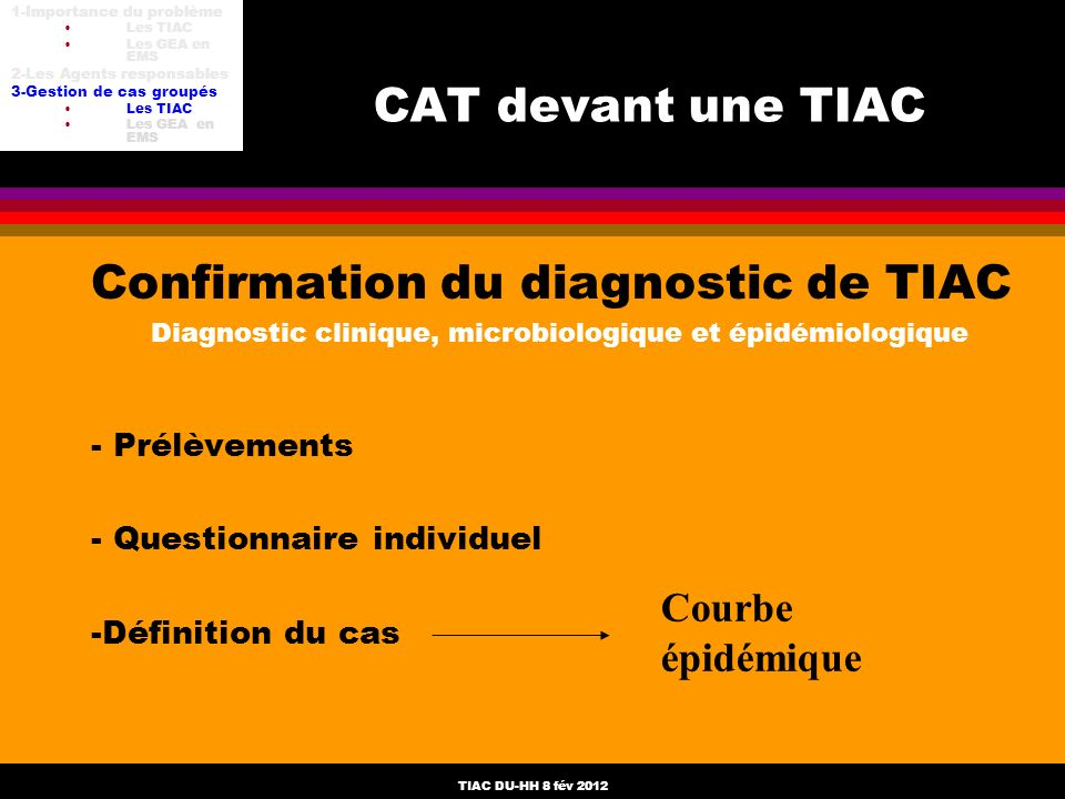 Diagnostic clinique, microbiologique et épidémiologique
