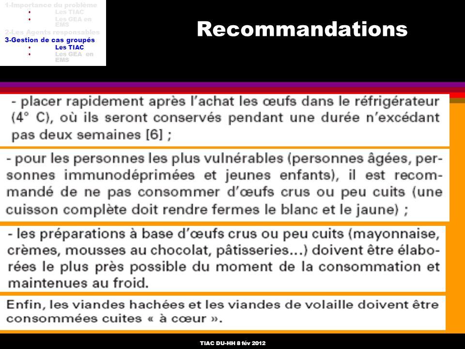 Recommandations 1-Importance du problème 2-Les Agents responsables