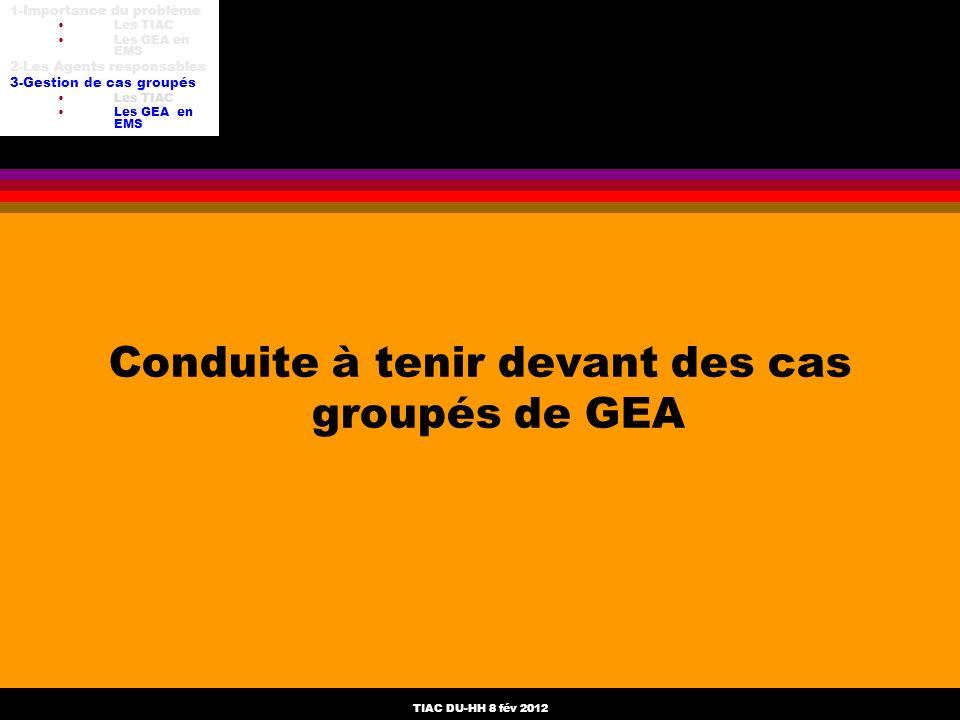 Conduite à tenir devant des cas groupés de GEA